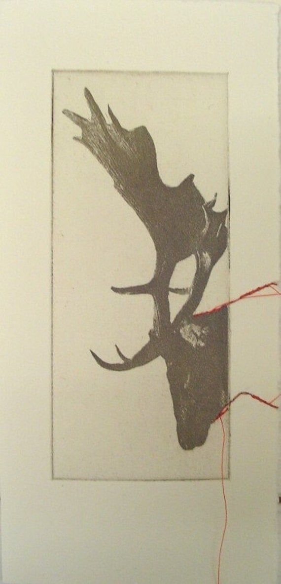 Small original deer etching