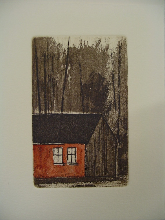 original etching of a farm,hand pulled