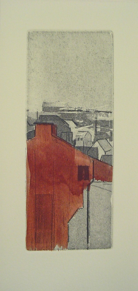 original etching of a town,hand pulled