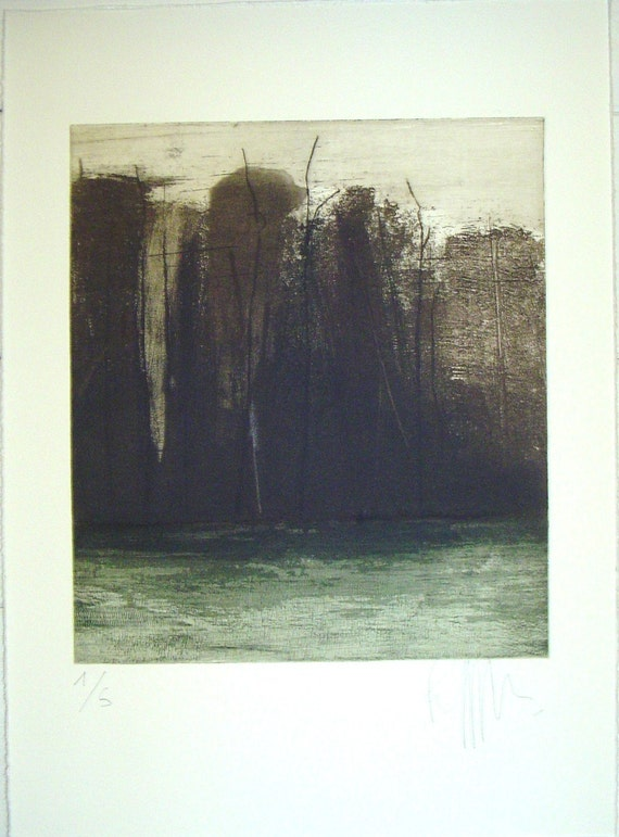 original etching of a forest, Autumn chills, hand pulled