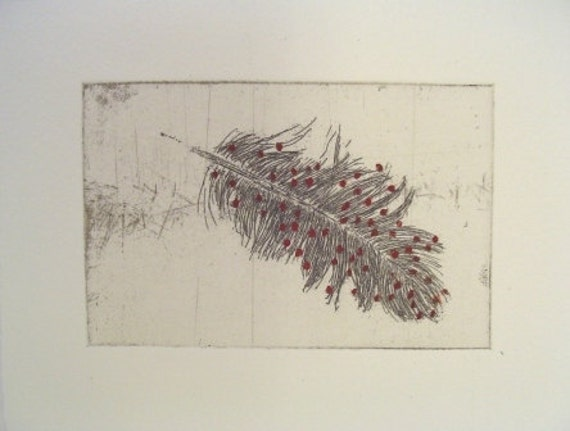 Original Etching of a feather,hand pulled