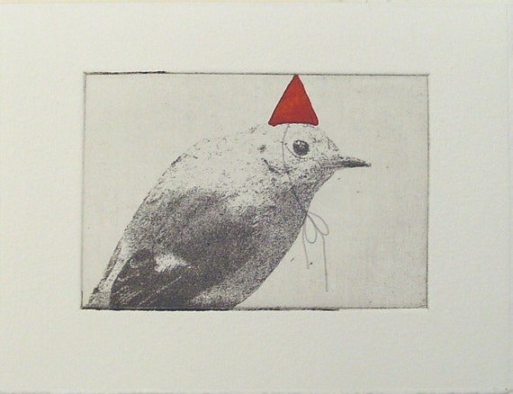 original etching of a party bird,hand pulled