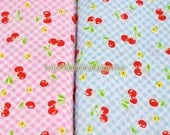 2015 SALE CLEARANCE Sweet Cherry On Gingham Check Collection (Blue)-Japanese Bubble Cotton Fabric (1/2 Yard)