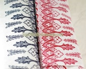 Linen Cotton Blended Fabric-Vintage Cross Stitch Style Floral Lace, Red (1/2 Yard)