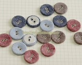 Linen Fabric Covered Buttons, Metal Holes - Simple Collection (1.8CM, 4 in a set)