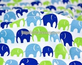 Zoology Collection, Multi Elephant Family (Blue and Green) - Knit Cotton Fabric (19.5x31.4 Inches)