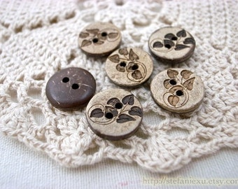 Natural Coconut Buttons - Floral Branch Leaf Leaves (6 in a set)