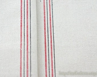 Cotton Canvas Fabric - Simple Black and Red Strips (1/2 Yard)