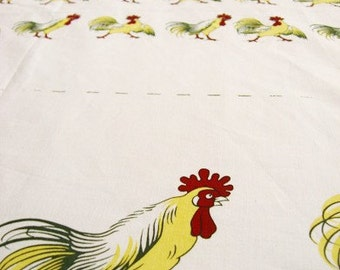 LAST PIECE - Light Canvas Fabric-Home Decor-Country Cocks (17x55 inches)