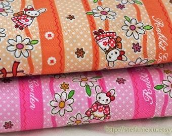SALE Clearance Japanese Cotton Fabric- Kawaii Bunny In Kimono and Daisy Flowers, Pink (1 Yard)