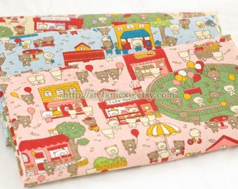 Little Bear's Happy Playground, Choose One Color (Fat Quarter)-Japanese Linen Cotton Blended Fabric