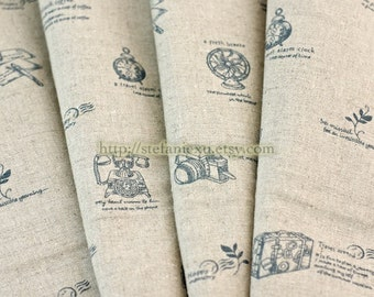 Linen Cotton Blended Fabric-Antique Traveling Zakka (Fat Quarter)