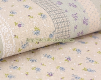 Chic Little Roses, White Tiny Dots (Soft Teal)-Linen Cotton Blended Fabric (Fat Quarter)