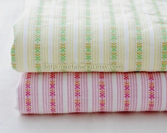 SALE Clearance 1 Yard Stripe Collection-Embroidery Floral and Stripe-Japanese Cotton Fabric, Choose Color