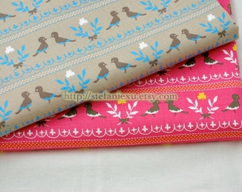 Birds Collection, Lovely Birds Couple(Beige)-Japanese Light Canvas Fabric (17.7x21.6 inches)