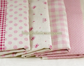 Floral, Mini Dots, Polka Dots and Gingham Patchwork (Pink)-Linen Cotton Blended Fabric (1/2 Yard)