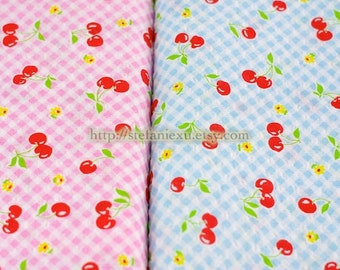 SALE CLEARANCE Sweet Cherry On Gingham Check Collection (Blue)-Japanese Bubble Cotton Fabric (1/2 Yard)