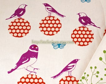 SALE Clearance- Lovely Birds On Polka Dots Ball (Choose One Color)-Linen Cotton Blended Fabric (1/2 Yard)