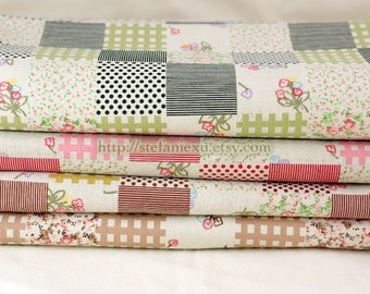 Spring Floral Bouquet Patchwork (Fat Quarter)-Linen Cotton Blended Fabric