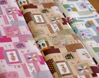 Sue's Country Life Patchwork -Linen Cotton Blended Fabric (Fat Quarter)