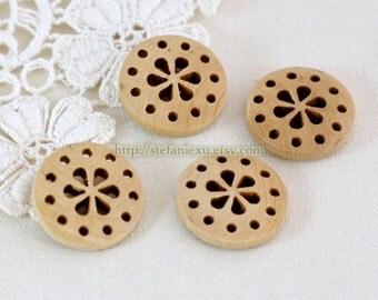 4PCS Natural Wooden Buttons - Pierced Six Petaled Flower (4PCS, D=2cm)