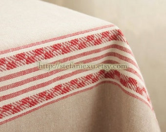 Home Decor Kitchen Tea Towels Table Plates Cloth Fabric, Embroidery Zakka Red Lines-Japanese Linen Cotton Blended Fabric (1/2 Yard)