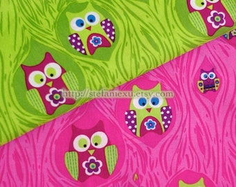 Owl Collection, Lovely Hoot Owl In Tree Hallows, Grass Green -Cotton Fabric (1/2 Yard)