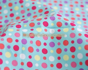 Dots, Polka Dots Collection-Colorful Candy Polka Dots On Aqua Blue-Light Canvas Fabric(Fat Quarter)