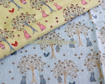 Kawaii Cat and Bird In The Woods-Linen Cotton Blended Fabric (Fat Quarter)