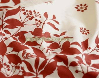 Home Decor, Dark Red Floral-Cotton Fabric (Fat Quarter)
