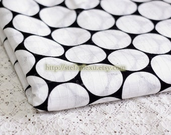 Fashion Big White Circles On Black-Japanese Eyelet Jacquard Cotton Fabric (1/2 Yard)
