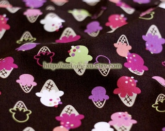 Colorful Ice Cream Sweets On Coffee -Japanese Cotton Fabric (1/2 Yard)