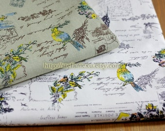 Vintage Looking Bird, Wreath and Poems -Linen Cotton Blended Fabric(Fat Quarter)
