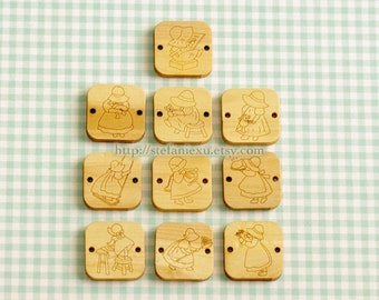 Wooden Buttons, Natural Color - Sunbonnet Sue Collection, Square (10 in a set)