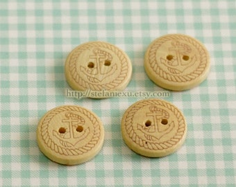 Wooden Buttons, Natural Color - Carved Anchor With Ropes (4 in a set)