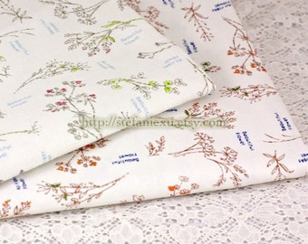 Natural Herb Garden Plants- Japanese Linen Cotton Blended Fabric (Fat Quarter)