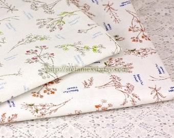 Natural Herb Garden Plants- Japanese Linen Cotton Blended Fabric (Fat Quarter)