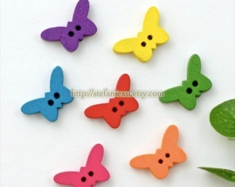 Wooden Buttons, Painted Color - Colorful Butterfly (7 in a set)