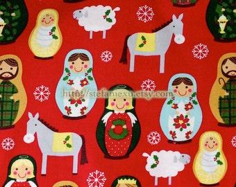 Nordic Floral Matryoshka and Animals - Quilting Cotton Fabric (Fat Quarter)