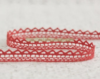 2 Yards Cotton Yarn Lace - Simple Wave In Watermelon Red (W1.2cm)