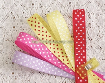 Grosgrain Gift Ribbon - Printed Chic Swiss Dots Line (5 Yards)