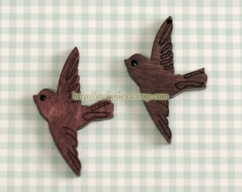 Wooden Necklace/Keychain Charm Pendant- Natural Retro Lovely Carved Flying Bird Birds (1 PCS)