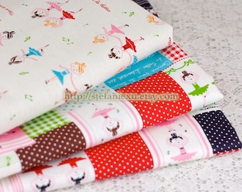 Ballerina Patchwork and Dancing Girls Collection- Linen Cotton Blended Fabric (Fat Quarter)