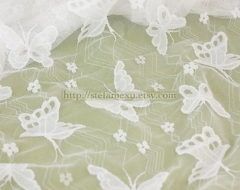Chic Eyelet Lace Flying Butterfly Butterflies Floral Garden, Choose Color - Japanese Elasticity Lace Fabric (1/2 Yard)