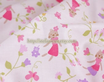 Zoology Collection, Miss Cat In Pink Floral Garden -Cotton Fabric (1/2 Yard)