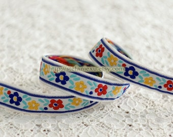 Sewing Tape/Ribbon - Shabby Chic Embroidery Nordic Blue, Red and Yellow Flowers (1.6 Yards)