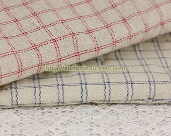 Check Gingham Collection-Retro Simple Checks - Linen Cotton Blended Fabric (1/2 Yard)