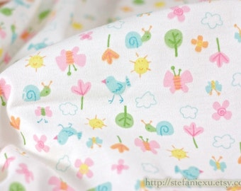SALE CLEARANCE-Lovely Birds, Butterfly In Spring Garden - Knit Cotton Fabric (1/2 Yard, 17.7x62.9 Inches)