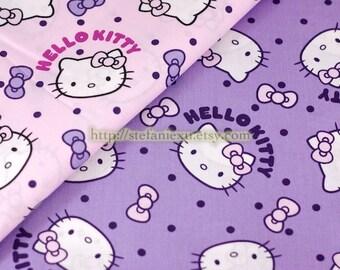 SALE Clearance 1 Yard Lovely Big Hello Kitty Head, Choose Color - Cotton Fabric (1 Yard)