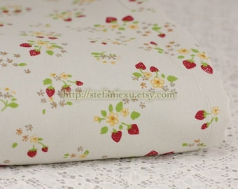 SALE Clearance 1/2 Yard Chic Sweet Wild Strawberry Floral On Pale Grey-Japanese Light Canvas Fabric